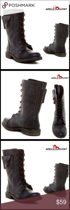 """⭐⭐ MOTO COMBAT POCKET BOOTS 💟NEW WITH TAGS💟 RETAIL PRICE: $98  Lace-Up BOOTS Combat Ankle Boots   * Lace up front & back zip closure  * Allover perforated detail  * Round cap toe, chunky 1.25"""" high heels, & top stitching detail; Side snap pocket accent   * Textured lug sole   * 8.5"""" high shaft  * True to size Fabric: upper & manmade sole.    Color: Black Item:  🚫No Trades🚫 ✅ Offers Considered*✅ *Please use the blue 'offer' button to submit an offer. Boutique Shoes Combat & Moto Boots"""
