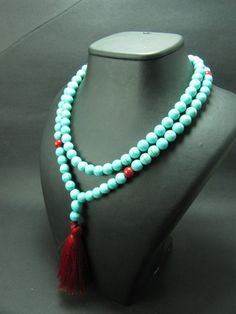 Free Shipping 108 Mala Beads Turquoise & Red Coral by GreenPalace