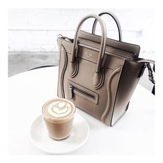 Caffeine with a side of Céline = #Perfection Photography by @brooklynblonde1. #AyvaJewelry #StartYourStory #caffeine #coffee #caffeineaddict #coffeeaddict #fuel #morning #morningfuel #wakeup #celine #luxe #luxury #highfashion #accessory #accessories #accessorize #fashion #bag #purse #staple #latte #cappuccino #yum