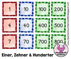 Teacher In Wonderland: Kleine Zahlkärtchen: Einer, Zehner und Hunderter