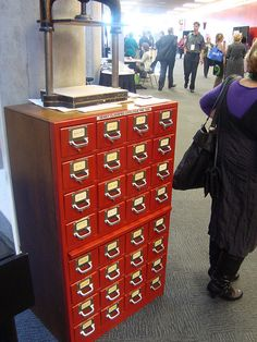 """Old CCL Card catalogue,"" by lianza conference 2009, via Flickr. Rather like the press on top, too..."