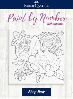 Let your creativity take the lead by watercolor painting a floral design with Paint by Number Watercolor Bold Floral by Faber-Castell. Creating your own artwork is easy and fun with the included paint by number guide to guide paint by number beginners create a flower painting they will be proud to show off! After your paint dries, the artist canvas is easy to hang and display on a shelf, table or wall. Watercolor Kit, Watercolor Painting Techniques, Watercolor Projects, Floral Watercolor, Watercolor Paintings, Art Projects For Adults, Artist Materials, Pencil Drawing Tutorials, Faber Castell