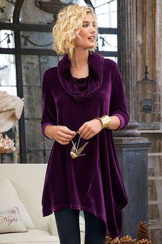 Women Velvet Asymmetrical Tunic - Velvet Tunic, Women's Velvet Tunic, Cowl-neck Velvet Tunic | Soft Surroundings