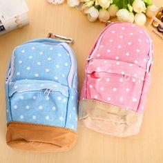 Pas cher Nouvelle coréen grande capacité toile sac à dos polka dot crayon sac d'école crayon cas stylo rideau sac de stockage, Acheter …