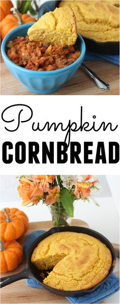 Pumpkin and white whole wheat flour help improve the nutritional value of this Southern standard while keeping the delicious flavor and slightly crumbly texture. Pumpkin Cornbread recipe from Meme // Living Well Kitchen Pumpkin Cornbread Recipe, Pumpkin Recipes, Fall Recipes, Cornbread Recipes, Thanksgiving Recipes, Sauce Recipes, Real Food Recipes, Yummy Food, Healthy Recipes