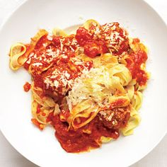 Garlicky Meatball Pasta | MyRecipes.com