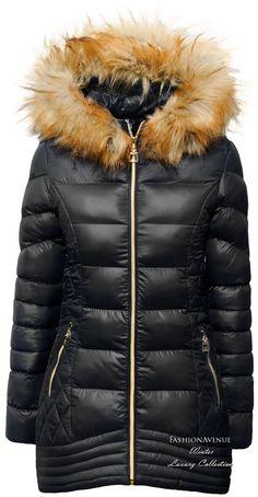 Kurtka damska zimowa ocieplana futerko jenot pikowania przeszycia złote zamki snowflake model #106 fashionavenue.pl