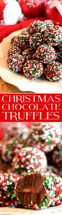 Truffles are the perfect homemade candy for Christmas! These look extra festive … Truffles are the perfect homemade candy for Christmas! These look extra festive [. Christmas Deserts, Holiday Desserts, Holiday Baking, Holiday Treats, Christmas Truffles, Holiday Candy, Christmas Candy, Christmas Recipes, Christmas Chocolates