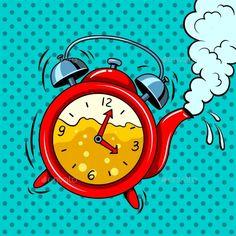 Buy Alarm Clock in Teapot with Tea Pop Art Vector by AlexanderPokusay on GraphicRiver. Alarm clock in teapot with tea pop art retro vector illustration. Clock Tattoo Design, Clock Tattoos, Celtic Tattoo Symbols, Desenho Pop Art, Pocket Watch Tattoos, Geometric Tattoo Arm, Pop Art Illustration, Comic Book Style, Clock Art