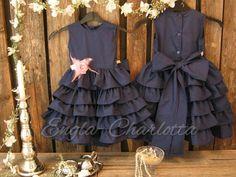 Navy blue flower girl dress, cotton flower girl. Girls ruffle dress, dark blue. Toddler girls formal dress. Nautical boat wedding