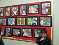 poem strips and portraits glued onto abstract painting!