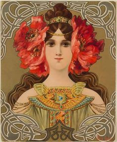 """Mary Golay """"Maiden with Red Flowers"""" (from Tete de femmes) Color Lithograph Illustration Art Nouveau, Fashion Illustration Vintage, Images Vintage, Photo Vintage, Vintage Art, Blog Art, Inspiration Art, Academic Art, New York Style"""
