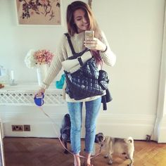 This is me trying to go out with pugs and a laptop that simply does not fit into my backpack.