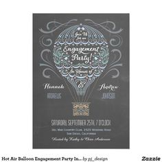 Shop Hot Air Balloon Engagement Party Invitation I created by pj_design. Lace Wedding Invitations, Engagement Party Invitations, Bridal Shower Invitations, Invites, Air Balloon Rides, Hot Air Balloon, San Bernardo, Chalkboard Background, Create Your Own Invitations