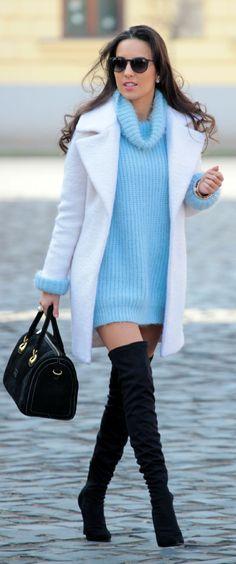 Light Blue Cozy Turtleneck Sweater Dress by Styleandblog.com