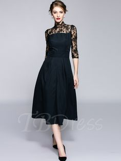 c1bf1209b5188 Black Mid-Calf Three-Quarter Sleeve Women s Lace Dress. ハイカラーのドレス結婚式のパーティー  ...