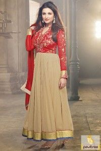 Bollywood actress Parineeti Chopra red beige anarkali suit online shopping with discount sale. Exclusive designer bollywood actresses salwar kameez online at pavitraa.in. #salwarsuit, #bollydress more: http://www.pavitraa.in/store/anarkali-salwar-suit/