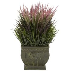"Mixed Grass Silk Plant (Indoor/Outdoor).  Who would think grass could look so beautiful? This wonderfully designed 13"" high arrangement takes the regular look of grass, adds a generous splash of pastel color on top to make something truly elegant and a joy to behold. Set in a Greco-Roman inspired vase it's a great addition to any living environment. Best of all, you'll never worry about the grass drying out (or mowing it!) #silkplant #garden #grass"