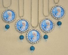 "Set of 5 ""FROZEN"" Elsa Inspired Flat Bottlecap Necklaces with shamballa charms! Fast Shipping!! by OneStopBottlecaps on Etsy"