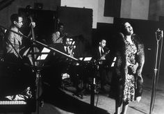 Billie Holiday at a Commodore recording session in 1939
