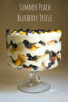 Summer Peach Blueberry Trifle Recipe: Perfect cool, refreshing summer dessert for your next potluck or get-together!