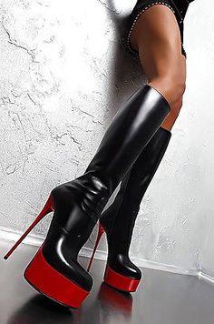 1969 ITALY Luxus Echtleder Stiletto Stiefel Plateau High Heels BD4 Boots Leather