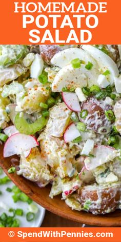 This easy classic potato salad recipe is simple, delicious, and always a hit. We love making this homemade potato salad recipe for barbecues! Classic Potato Salad, Creamy Potato Salad, Homemade Potato Salads, Potato Recipes, Salad Recipes, Healthy Recipes, Easy Recipes, Mexican Potatoes, How To Make Potatoes