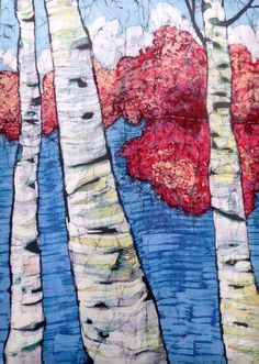 Birch On Glen Lake II  Fine Art Batik Painting por TerriHaugenArt