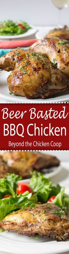 Basted BBQ Chicken BBQ chicken with a beer, butter and garlic mixture used to baste the chicken.BBQ chicken with a beer, butter and garlic mixture used to baste the chicken. Walnut Chicken Recipe, Best Chicken Recipes, Beer Recipes, Turkey Recipes, Dinner Recipes, Dinner Ideas, Smoker Recipes, Camping Recipes, Grilling Recipes