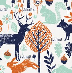 "Navy and Orange Woodland Animals Fabric by Carousel Designs.  Navy and orange woodland animals fabric printed on antique white background. Fabric is cut to order in one continuous piece. This is a 100% cotton, 54"" wide, medium weight fabric."