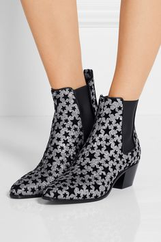 silver/black rock flocked glittered leather ankle boots