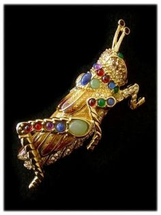 """JUDITH LEIBER 18K Gold Plated Cabochon """"Jimmie"""" Grasshopper Brooch ORIG TAG"""