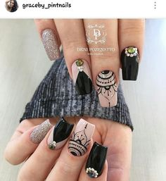 Gorgeous Nails, Love Nails, Pretty Nails, My Nails, Square Nail Designs, Nail Art Designs, Henna Nails, Henna Nail Art, Mood Nail Polish