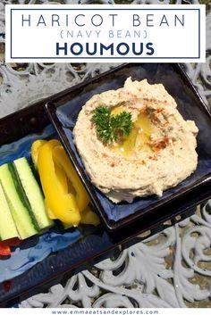 Haricot Bean Houmous - Navy Bean Hummus by Emma Eats & Explores Real Food Recipes, Snack Recipes, Dinner Recipes, Easter Recipes, Dip Recipes, Healthy Snacks, Healthy Recipes, Superfood Recipes, Dips