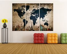 Large wall art for living room, textured world map canvas art, world map wall art print, Modern art, world map canvas art No:8S71