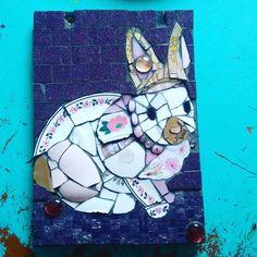 Pink rabbit, 19x26 cm #mosaic #piqueassiette #rabbit #pink #ngmozaik