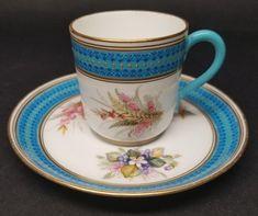 Royal Worcester Antique 1880s Porcelain CUP & SAUCER Aqua Blue Hand Painted (B) #RoyalWorcester #Victorian