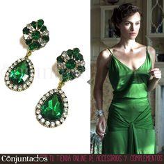 Con los #pendientes Diana con lágrima verde estarás más guapa que Keira Knightley en la peli Expiación, te pongas o no este fabuloso vestido de seda verde de #Chanel que lleva la actriz. Nuestros Diana son un #accesorio clásico y espectacular para rematar un outfit de fiesta. Estos pendientes te convertirán en el centro de todas las miradas ★ Precio: 13,95 € en http://www.conjuntados.com/es/pendientes-diana-con-lagrima-verde.html