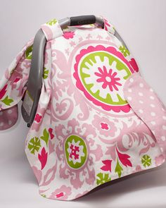 Carseat Cover/Carseat Canopy Pink Green by PenelopePieBoutique, $50.00