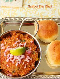 Bombay Pav bhaji; Indian street foods. This gives you the recipe of pav i.e. the buns and the bhaji. wonderful isn't it?