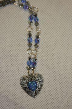 Metal filigree heart Valentine's day blue by hudathotjewelry, $15.00