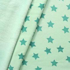 Alpenfleece Sweatshirt  Stoff in mint mit Sternen | mint fabrics |