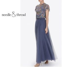 Needle&Thread ドレス-ロング [追跡付] Needle&Thread* チュール マキシ スカート* 直営店購入