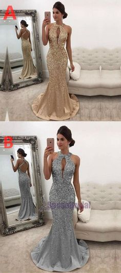 Charming Custom Grey Beading Sparkly Newest Fashion Popular Prom Dresses, Evening party dress, Beaded Prom Dress, Mermaid Prom Dresses, Bridesmaid Dresses, Cute Dresses, Beautiful Dresses, Party Dresses, Sparkly Wedding Shoes, Prom Heels, Dream Dress