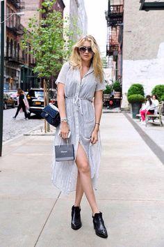 Gigi Hadid / Chanel boots & bag, gray dress