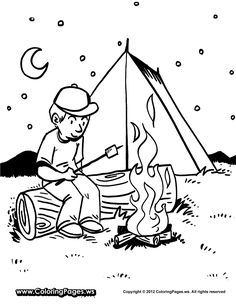 fun printable coloring sheet boy roasting marshmallows over camp fire with tent in background