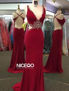 Sexy Maroon V Neck Sweep Train chiffon prom dresses with Beaded http://niceoo.com/products/16527492-sexy-maroon-v-neck-sweep-train-chiffon-prom-dresses-with-beaded