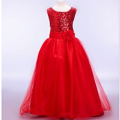 A-line / Ball Gown Ankle-length Flower Girl Dress - Cotton / Tulle / Sequined / Polyester Sleeveless – USD $ 28.49