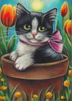 Tuxedo Cat Tulips Spring Painting