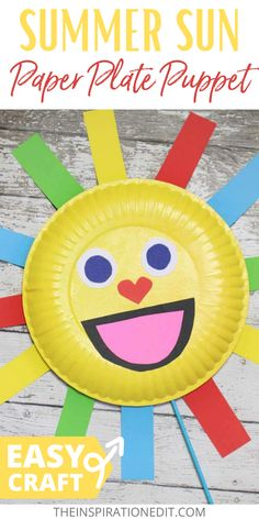 Make your child's summer more fun with this puppet made from paper plate. They will surely love and enjoy creating this easy craft. #paperplate #easycraft #puppet #summersun #kidscraft Diy Crafts For Tweens, Craft Activities For Kids, Preschool Crafts, Summer Activities, Kid Crafts, Craft Ideas, Paper Puppets, Art Projects For Teens, Diy Beauty Projects